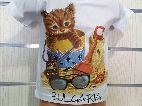 Нова детска тениска с котенце на плаж 2г 4г 6г 8г 10г 12г 14г