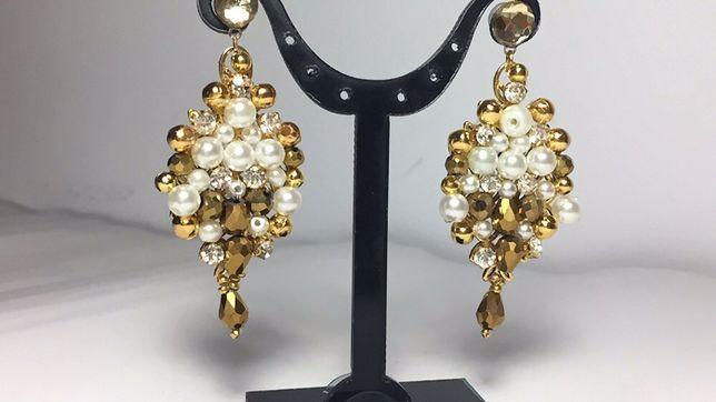 Cercei eleganti/de ocazie/mireasa handmade cristale si margele