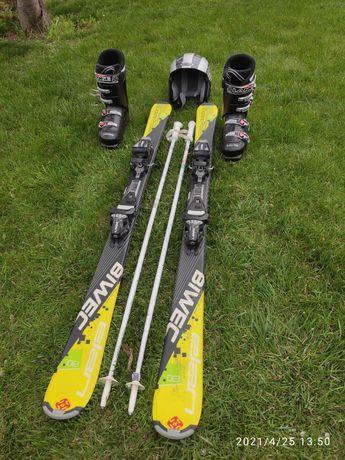 Лыжный комплект лыжы шлем палки каска