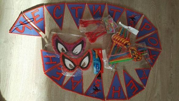Комплект за рожден ден Спайдърмен, вилици, сламки, маски, банер