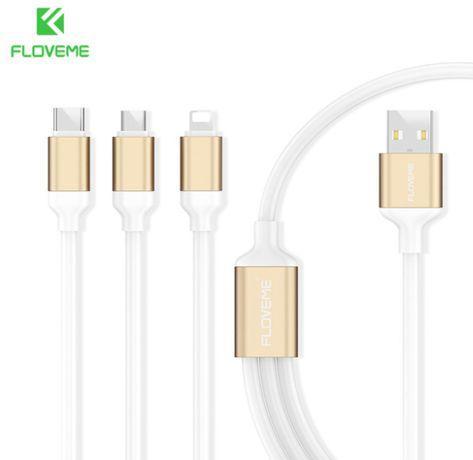 Зареждащ USB Кабел 3 в 1 за зареждане на телефони таблет