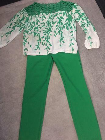 Ефектен дамски есенен сет в зелен цвят с дантела