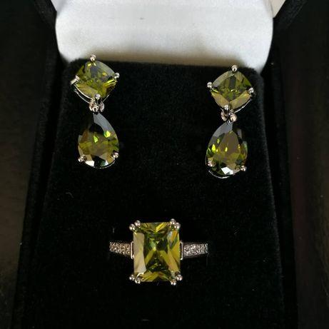 Lichidare de stoc!! Set inel + cercei imbracati in aur 10 KT