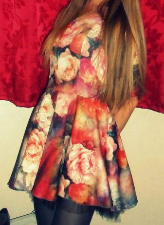 Цветна къса рокля