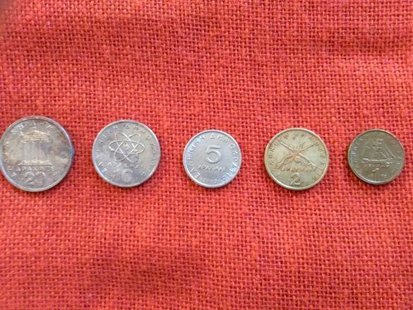 Гръцки монети, 5 броя, емисии от 1978г. до 1982г