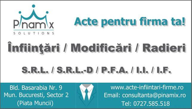 Infiintare firma ,modificare ,radiere SRL/ PFA /IF: GIURGIU - CALARASI