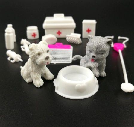 Комплект кученце и коте за Барби, с аксесоари за ветеринар
