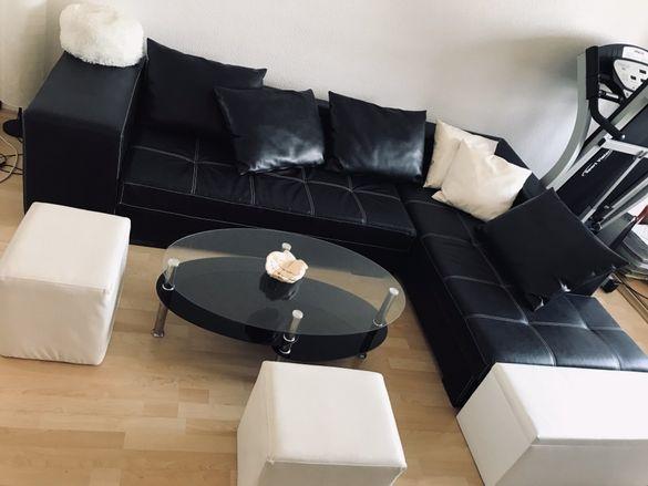 Кожен диван с ракла ,две табуретки и холна маса
