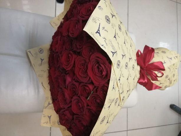 101 роза 60см высотой