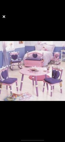Colectie mobilier fetita- lemn cauciuc si vopsea ecologica
