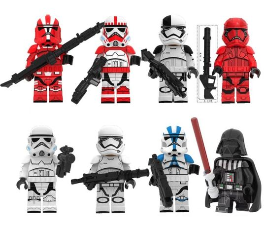 Set 8 Minifigurine noi tip Lego Star Wars cu Lord Vader + 7 Troopers