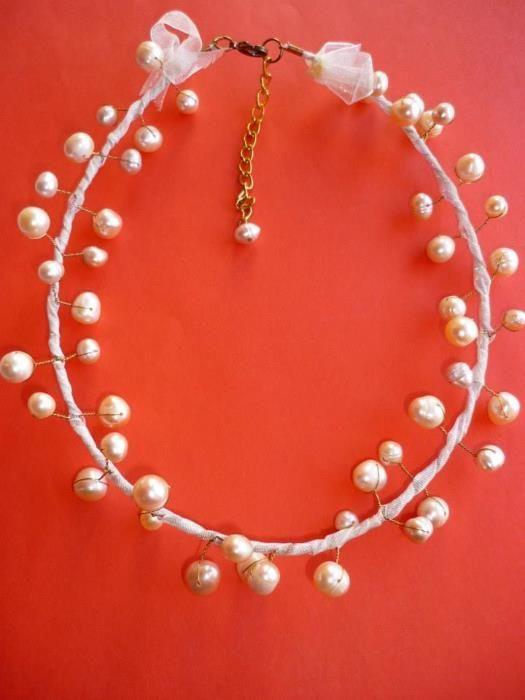 3 модела Колие с естествени речни перли - ръчна изработка