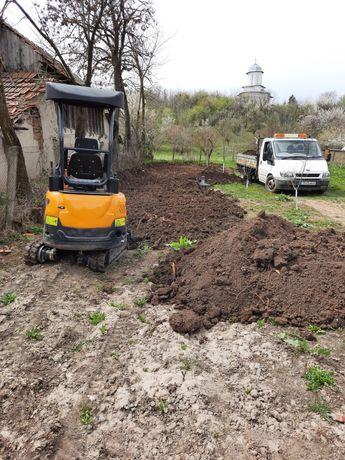 Miniexcavator si balculabila 3mc fose septice, fundatii, nisip, balast