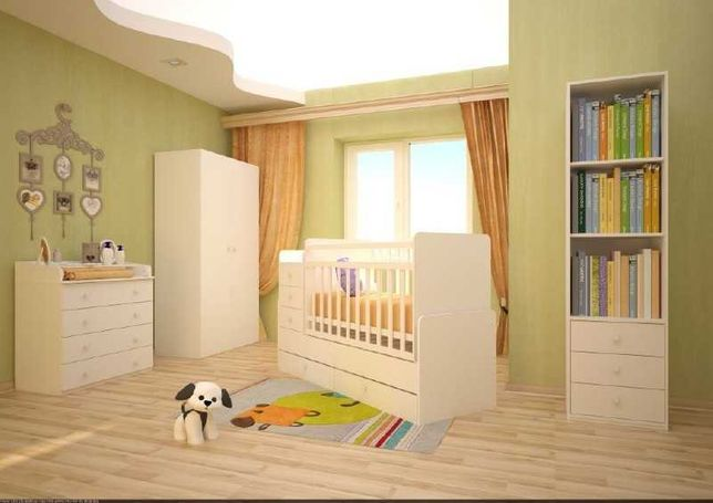 Новая манеж Кроватка-трансформер Фея 1100 белый для новорожденных