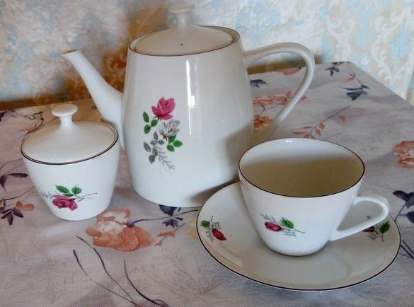 БГ стари порцеланови чайник,чаша,захарница,чинийка- общ.Приморско