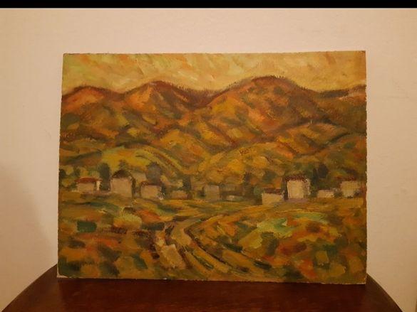 Стара маслена картина 'Село в долината'' на художника Николай Илиев .