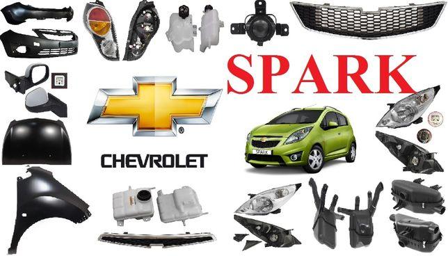 Кузовные детали, капот фара бампер решетка Chevrolet Spark