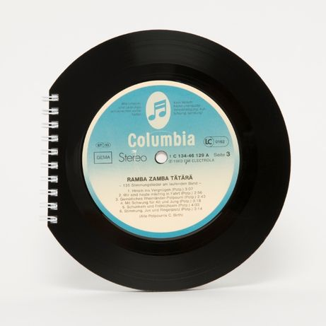 Agenda unica Romania Cadou Vinyl Jurnal handmade Discuri reciclate