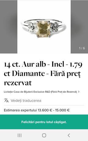 Inel cu diamant 1,79 carate TCW claritate SI3, culoare verde galbui