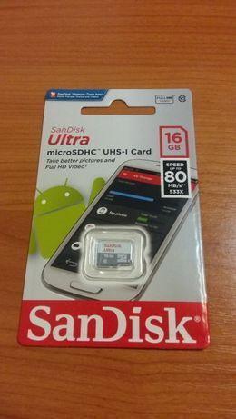 Card 16GB microSDHC SanDisk Ultra clasa 10 80MB/s