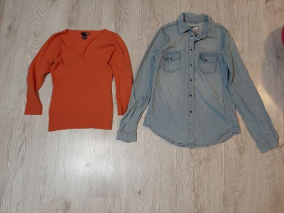 Дънкова риза М размер и блуза С размер