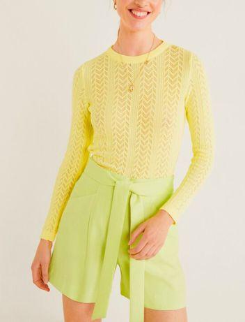 Pantaloni scurti MANGO galben verde neon - marimea 42 (L) - 99 RON