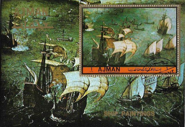 Super timbre colita Ajman, tematica navala corabii cu panze, veliere