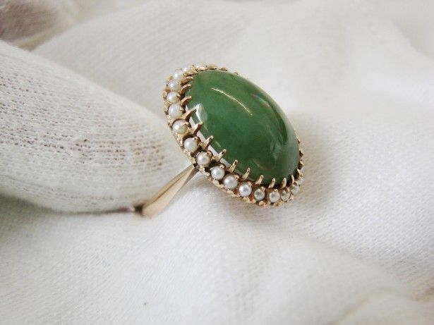 Unicat Empir Inel Aur 14K Cu Jadeit Jade Si Perle Jad Natural Aur