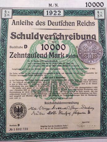 10.000 Marci Germania Titlu de Stat 1922 obligatiune cu cupoane