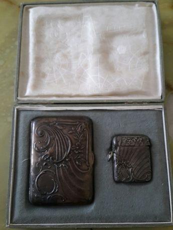 Tabachera și brichete din argint Însoțire  cutie originală