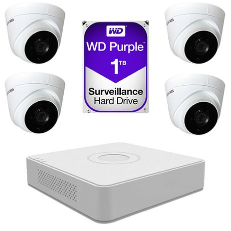 Sistem supraveghere video 4 camere 2MP Hikvision, FullHD + 1TB HDD