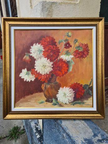 """"""" Dalii """", """"Să mă roșesc o albă"""",tablou superb, Maria Frânculescu, u/c"""