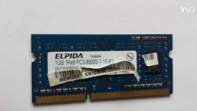 Memorie RAM Laptop ELPIDA 1GB 1RX8 PC3 8500S DDR3 1066MHz