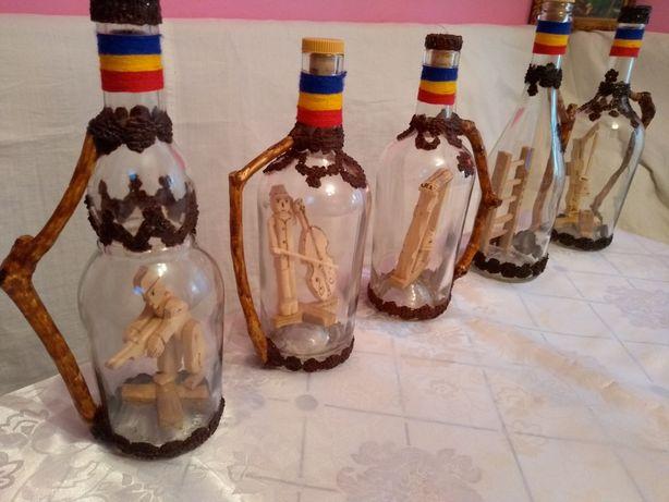 Sticle artizanale cu sculptura interioara, pt palinca Maramures Cadou!