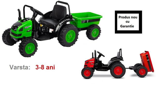 Tractor electric cu remorca si telecomanda Toyz Hector rosu 12V