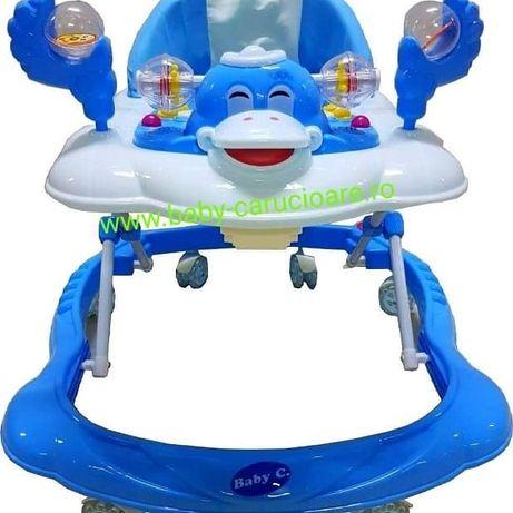 Premergător cu roți din silicon Baby Care Ratusca Albastru