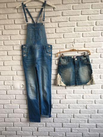 Дънков гащеризон H&M/11-12 г. и дънкова пола
