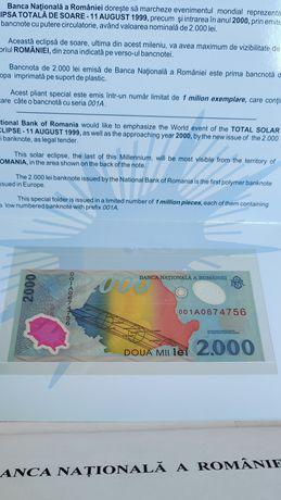 Bancnota 2000 LEI Eclipsa totala de soare colectie