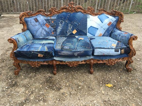 Дънкови дивани / Мека мебел / Ръчно изработени дамаски