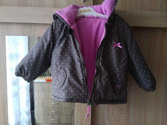 Топло яке за малка дама в кафяво с розови точки