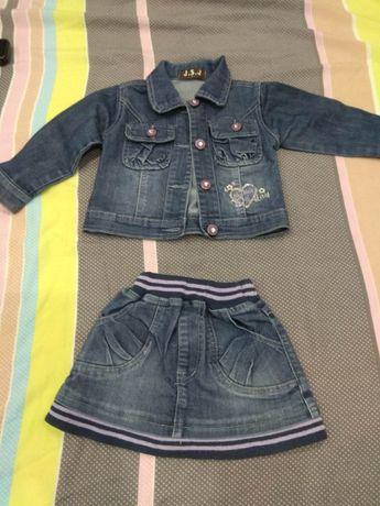 Комплект дънково яке и дънкова пола за 2 години