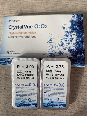 Контактные линзы 2,75 и 3,00, новые,  Crystal Vue O2O2 + жидкость в по