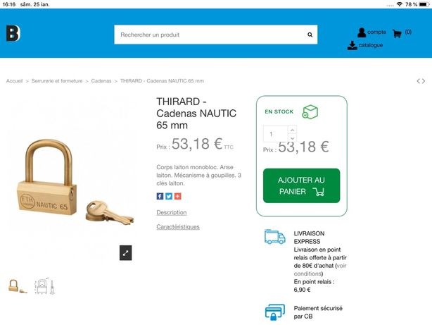 Lacat profesional Thirard NAUTIC 65 made in France,sigilat ,nou