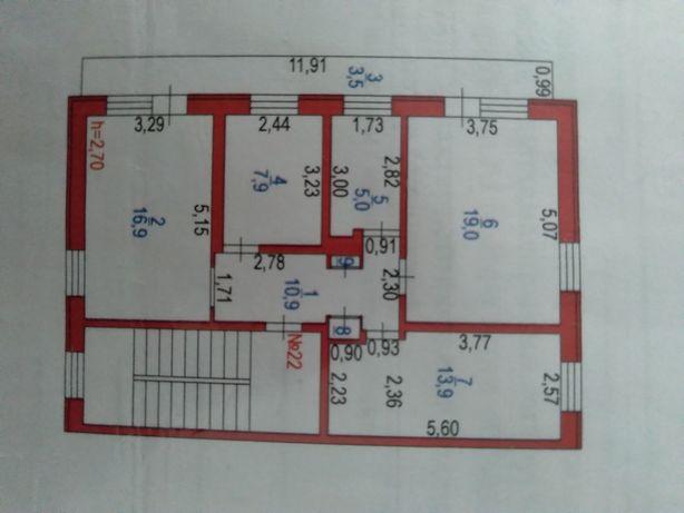 Квартира ЦЕНТР 2 зал, 2 балкон, 1 спальня, подвал жок, маса жок