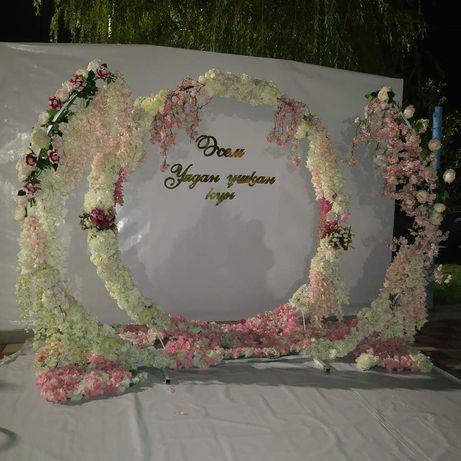 Прока цветочных арок оформления свадьбы кыз узату красная дорожка