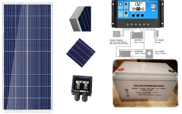ПРОМО соларна система 12v 100ач Панел Тягов гелов акумулатор контролер