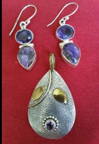 01-Cercei argint 925 si pandant ag.925 decorat cu aur de 14k