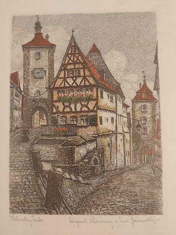 "Gravura aquaforte originala, semnata Ernst Geissendorfer, ""Plonlein""."