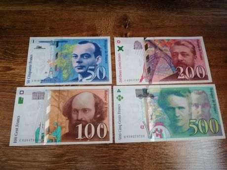 Bancnote Franta 50, 100, 200 și 500 franci