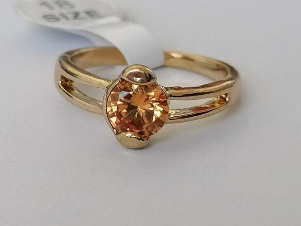 GR76, inel placat aur 14k, model logodna, zirconiu crem/șampanie